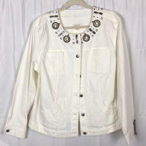 JM Collection Size 18 White 98% Cotton jacket